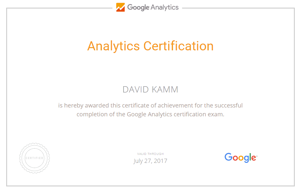 Google Partners - David Kamm Google Analytics Certification (GAIQ)