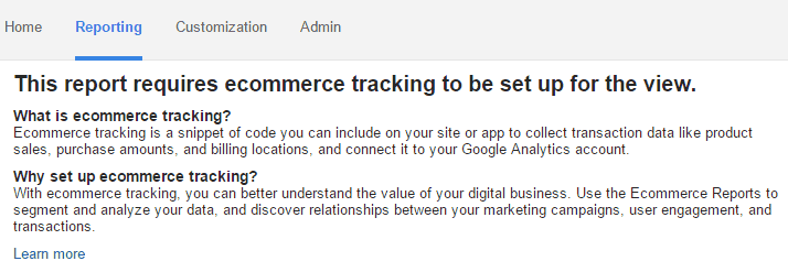 Google Analytics Ecommerce Overview - Setup Needed