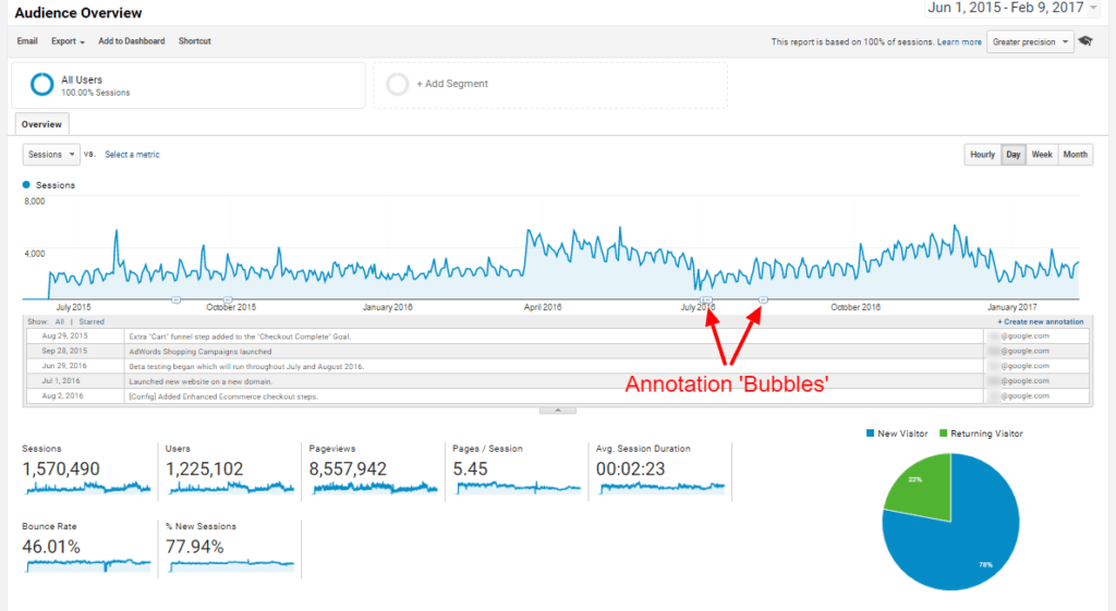 Google Analytics Audit - Audience Overview