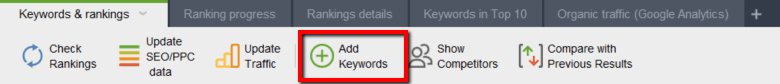 seo powersuite add keywords