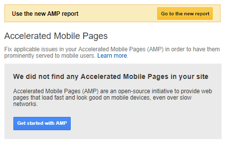google search console amp report