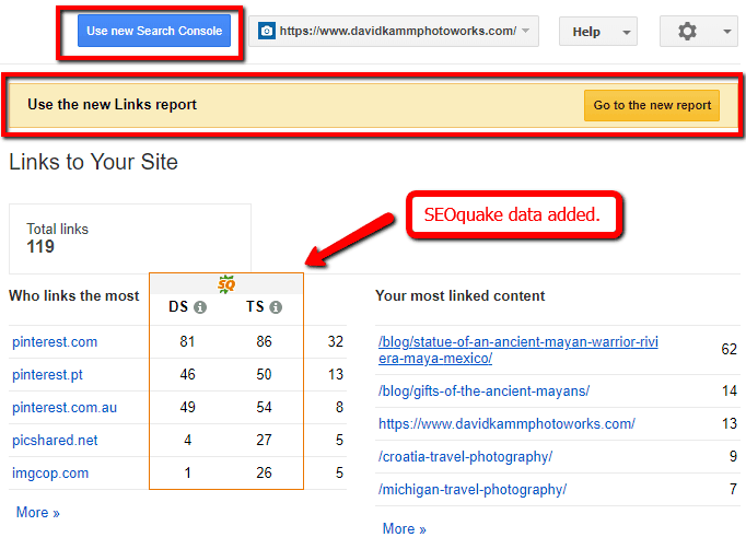 google search console and seoquake backlink metrics