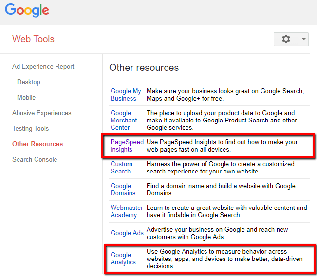 google search console other resources and tools
