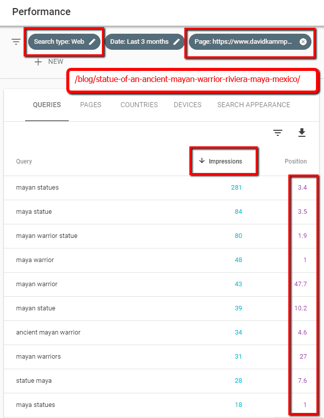 google search console page query results