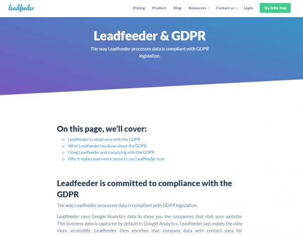leadfeeder gdpr compliance