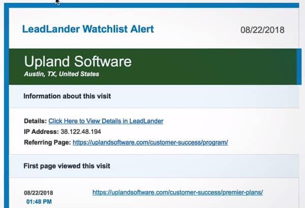 leadlander watchlist alerts