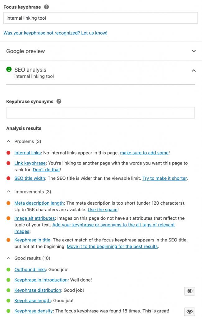 yoast content analysis example