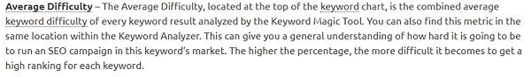 semrush keyword average difficulty definition