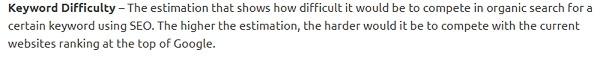 semrush keyword difficulty definition